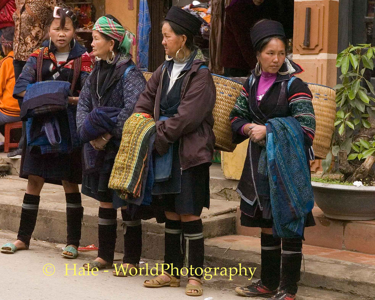 Hmong Hill Tribe Women Outside Market in Sapa Vietnam