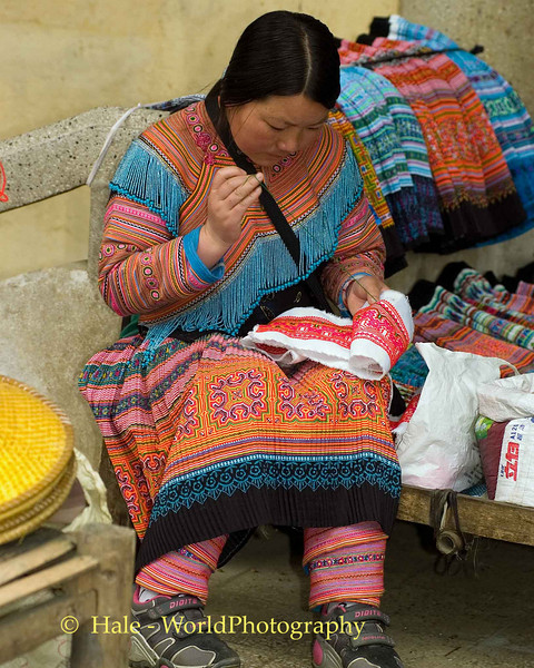 Hmong Woman Needlepointing at the Market in Sapa, Vietnam