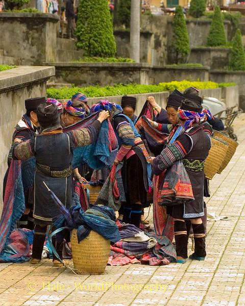 Hmong Hill Tribe Women Shopping for Textiles, Sapa Vietnam