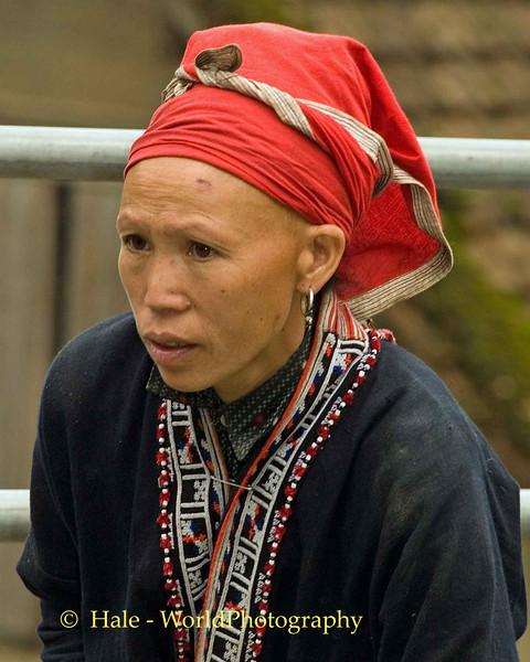 Red Dzao Woman at Market in Sapa, Vietnam