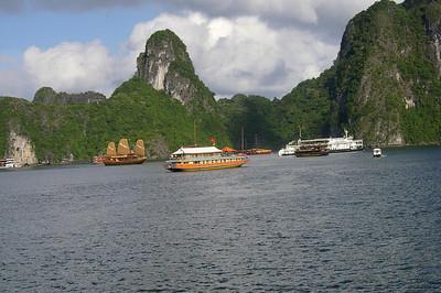 Ha Long Bay junks, courtesy Seikel family