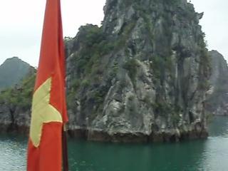 The Vietnamese communist flag flies on every vessel in Ha Long Bay.