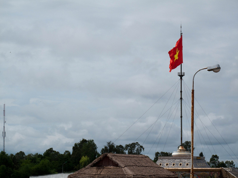 I'm standing on the Hien Luong Bridge - the demarcation line between North and South Vietnam.