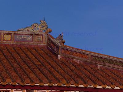 Vietnam HUE  Citadel inner sanctum  roof details  roof dragons