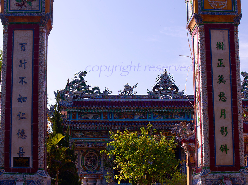Vietnam Tomb Roof of inner sanctum, elaborate , befitting a rich man and his family.<br /> <br /> Not to be reproduced in any form without written permission from emkphotography.org