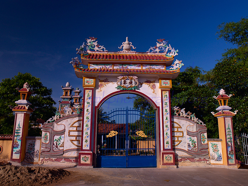 Vietnam Tomb entrance, elaborate , befitting a rich man and his family.  Main Gate<br /> <br /> Not to be reproduced in any form without written permission from emkphotography.org