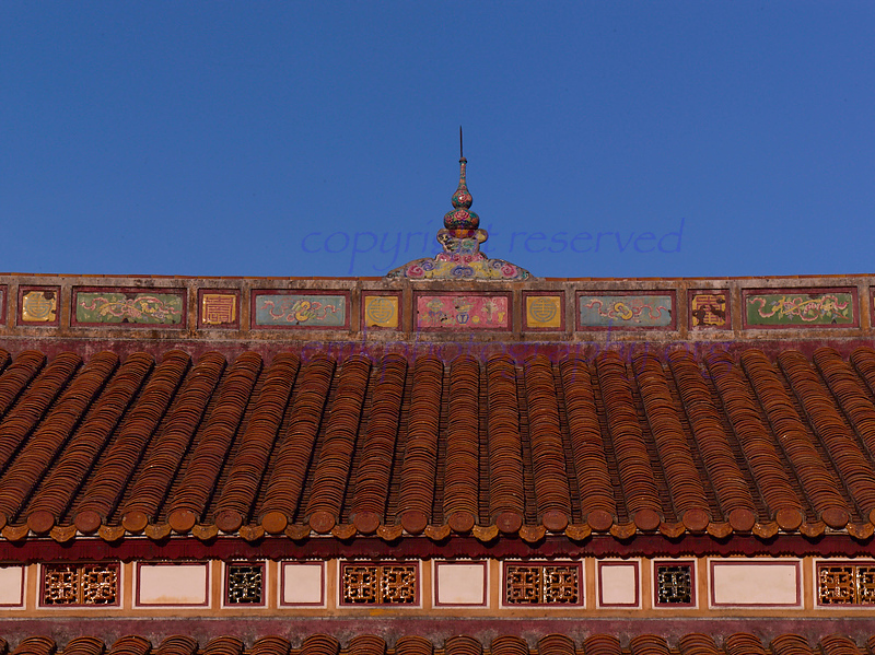 Vietnam HUE  Citadel inner sanctum  roof details