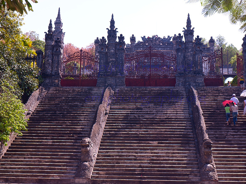 Vietnam Bao Dai's Khai DinhTomb Grand staircase entrance to inner courtyard.<br /> <br /> Not to be reproduced in any form without written permission from emkphotography.org
