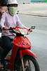Streets in Vietnam; masks to help protect against pollution from the motor bikes.