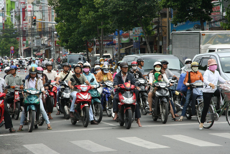 Typical street scene, Vietnam.  Not many cars, LOTS of motorcycles!