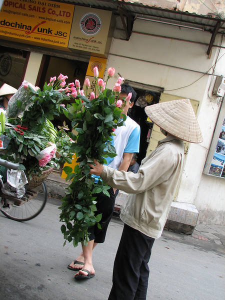 The Vietnamese love flowers and ladies on street sell fresh ones every morning. Every store has fresh bouquets of flowers.