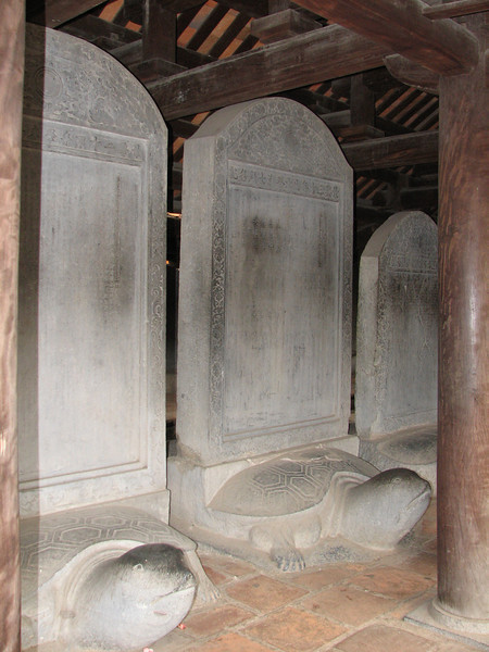 The Temple of Literature - The Stele are in the shape of a turtle, a revered animal for wisdom in Vietnam.
