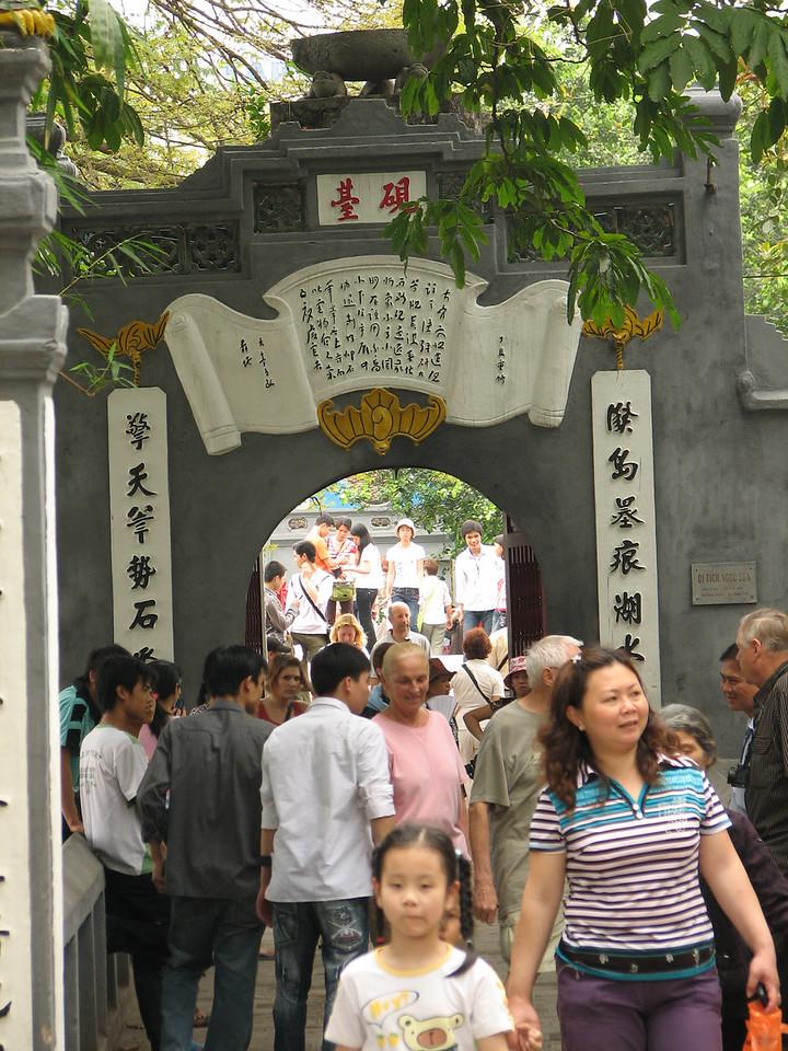 The entrance to Ngoc Son Temple on Hoan Kiem Lake.