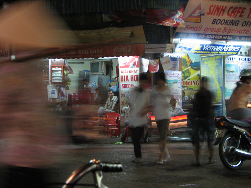 Bia Hoi - or street/fresh beer. 18 cents a glass, you sit on plastic chairs on the sidewalk and drink with your friends and strangers. This is one of the national pasttimes of Vietnam.