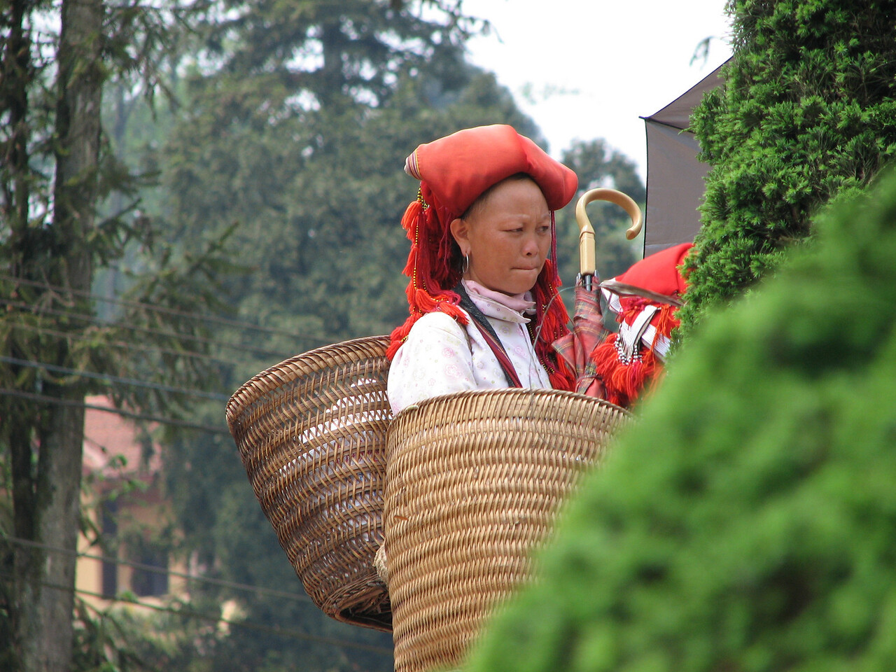 Ladies form the Red Dzao tribe. They shave their heads.