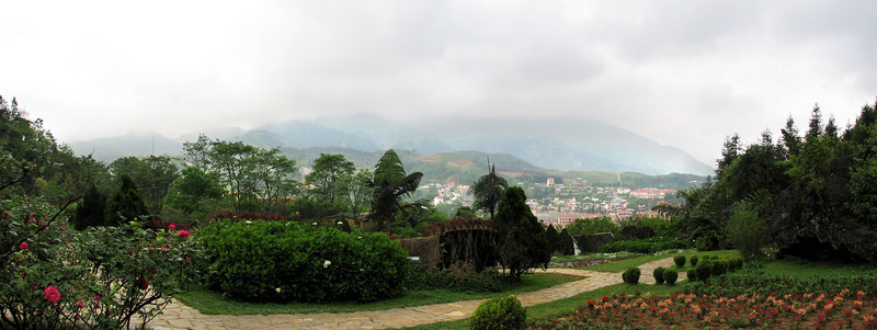 The English Garden on Ham Rong Mountain with Sapa in the distance.