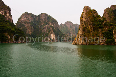 Sheltered cove in Ha Long Bay
