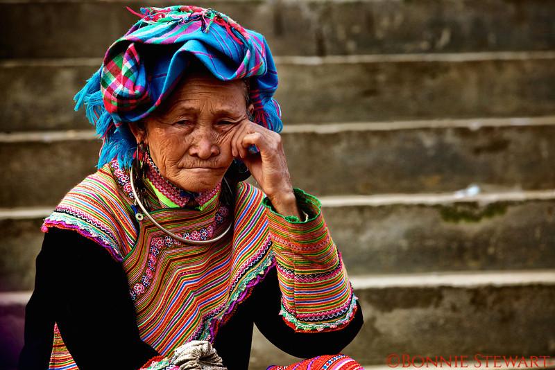 Flower Hmong Elder in the Market