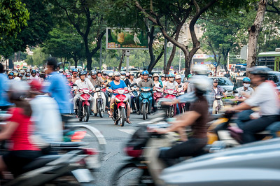 In Ho Chi Minh City (Saigon), the motor bikes and scooters outnumber the cars 10 to 1.