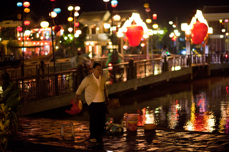 The main bridge in the ancient town in Hoi An.