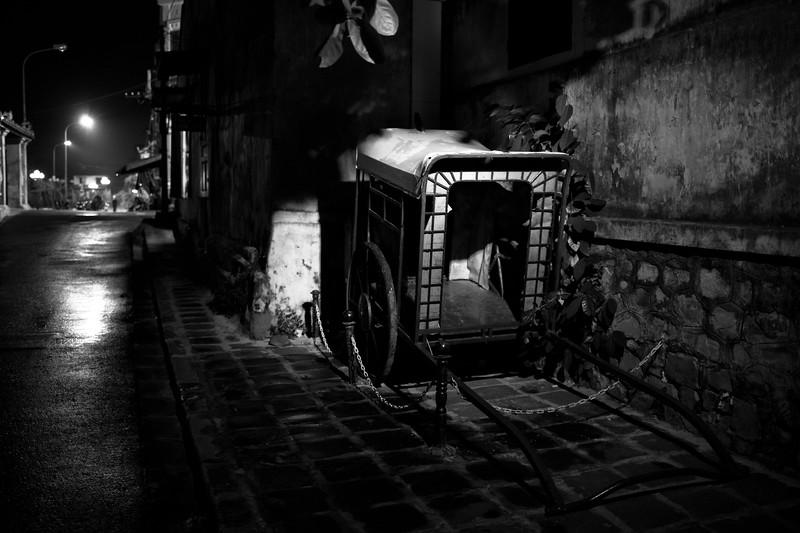 An old rickshaw cart.