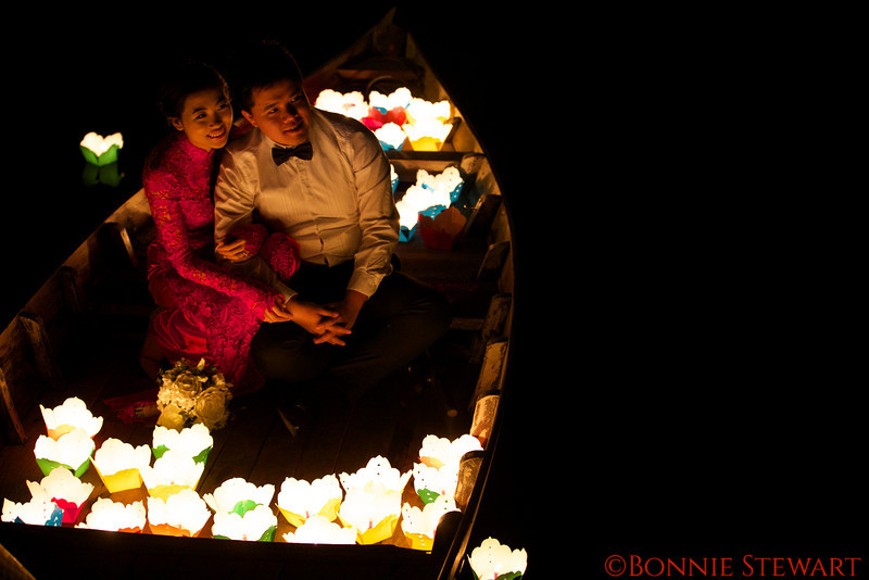 A marriage boat - the couple are sending lots of prayers to the river