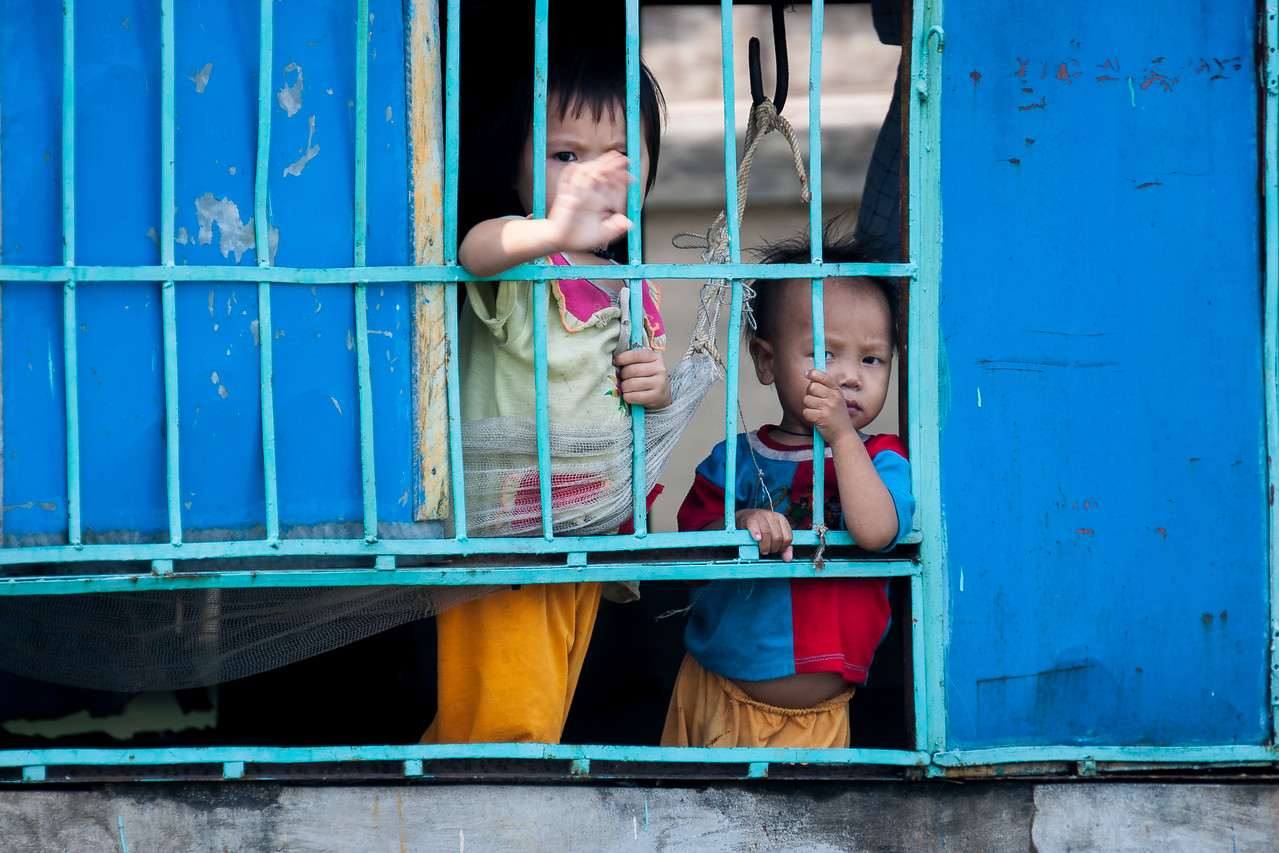 Children in a floating home