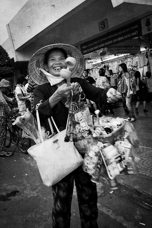 Everyone is selling something, and no one is more friendly than a vendor with a hopeful prospect. Ho Chi Minh City (Saigon).