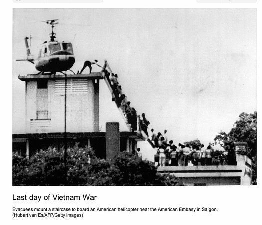 Getty Images 1975: The top of the CIA building in Saigon where the last US personnel were evacuated by helicopter to US Naval vessels in the South China Sea on April 29, 1975