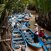 Canal rowing boats on the Mekong Delta
