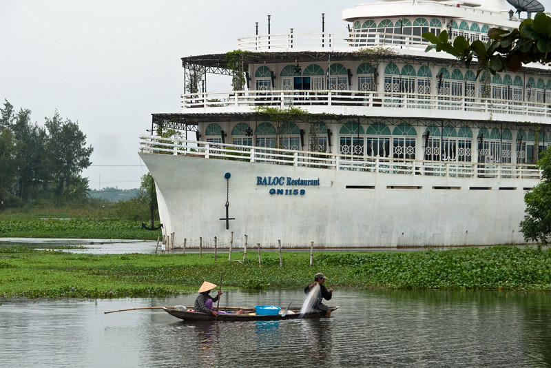 This huge riverboat has been converted into a restaurant in a small village west of Hoi An.