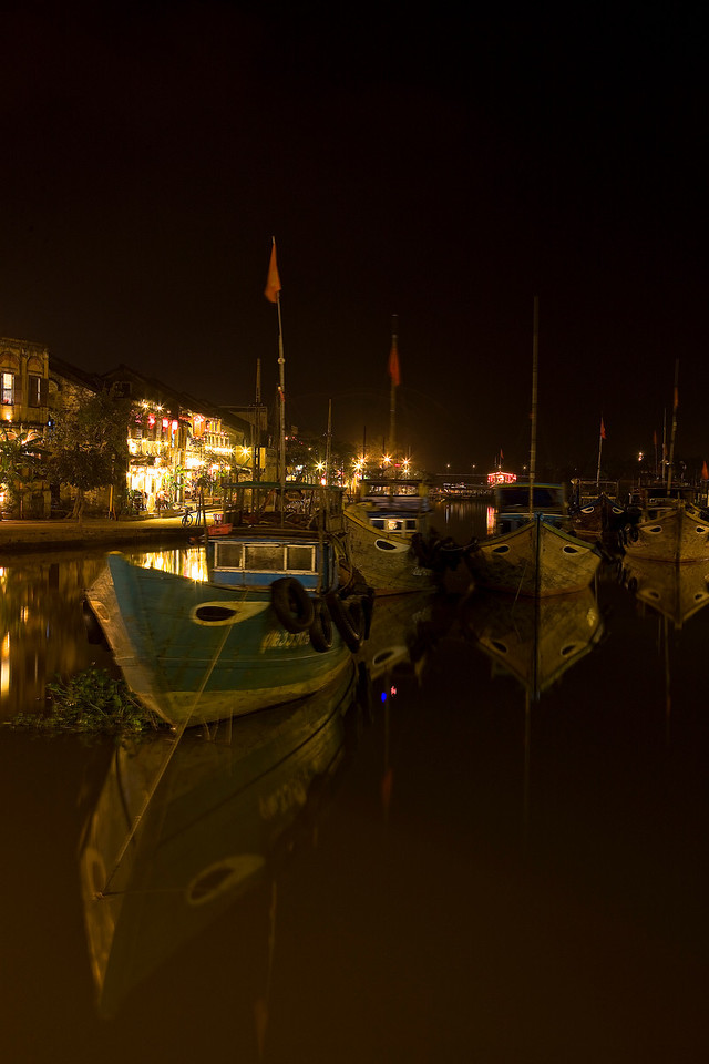 The river through Hoi An at night.