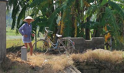 Lokale man in de rijstvelden. Hoi An, Vietnam.