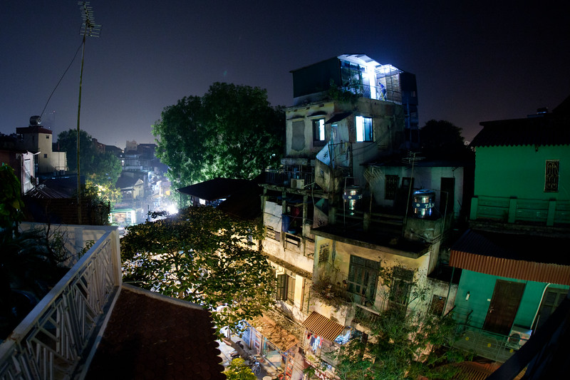 The view from the balcony of my room in Hanoi.