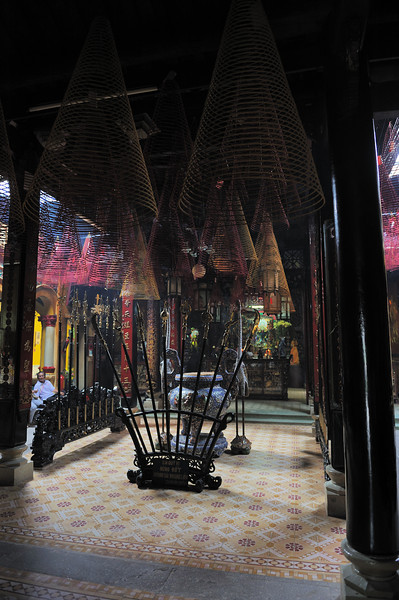 Here you can see several really huge spiral incense sticks...several feet high...
