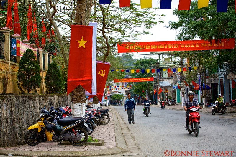 Communist Flags in a street in Cat Ba