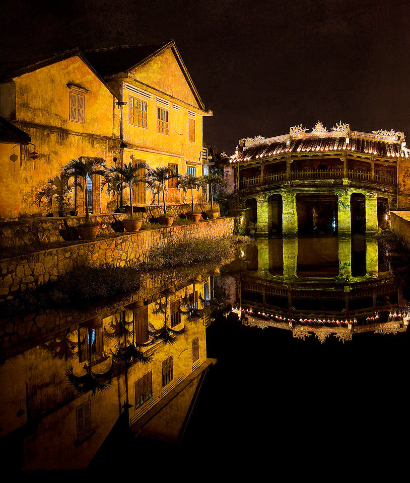 The old bridge in Hue at night.