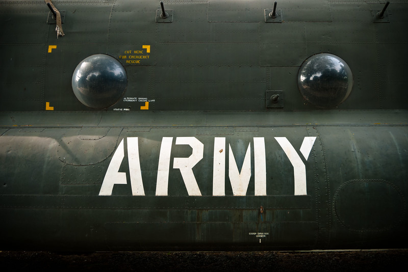 The side of a Chinook helicopter.