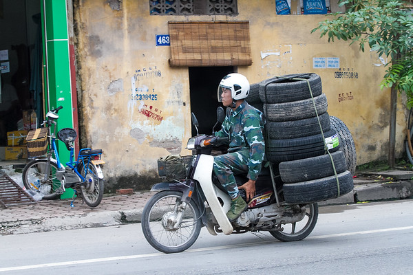 13 Tires on a Scooter - Hanoi, Vietnam