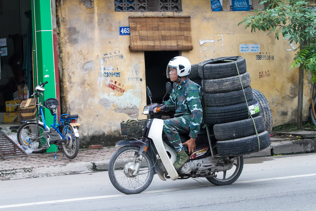 13 Tires on a Scooter - Hanoi!