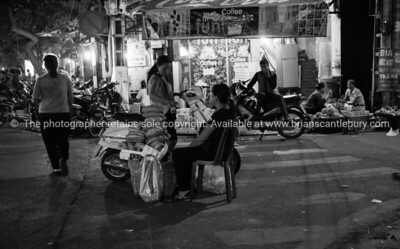 Black and white night scene, Hanoi, Vietnam.