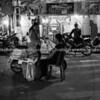Black and white night scene, Hanoi, Vietnam.