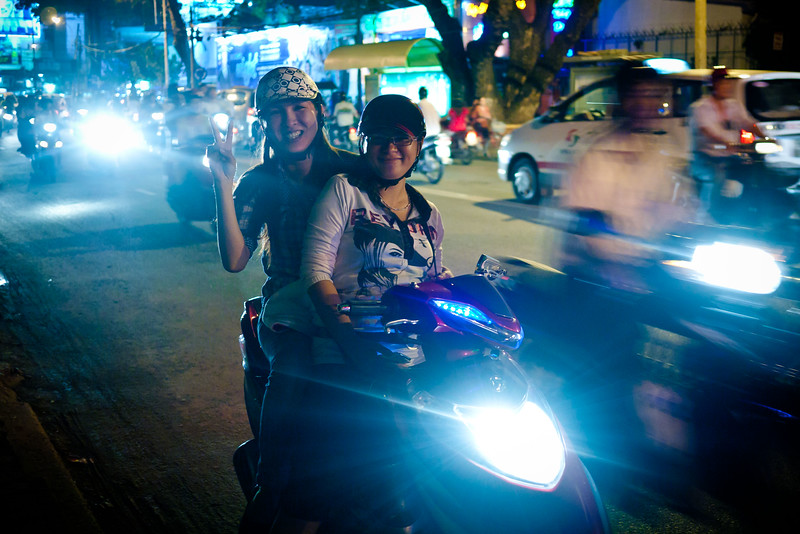 These girls saw me photographing the street and asked me to take their photo.  This is the kind of warm reception I get everywhere in Saigon.
