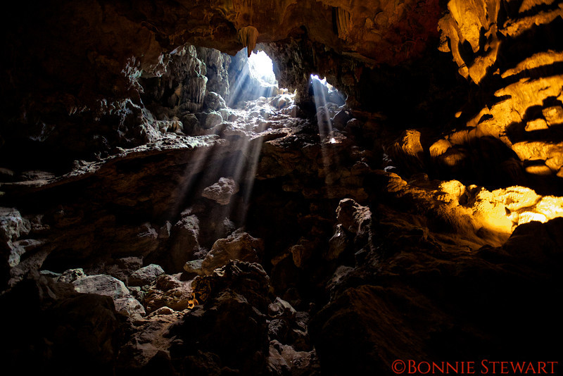 View of the sun rays in the caves in the Gulf of Tonkin