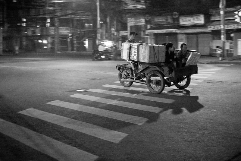 Around midnight the traffic seemed to evaporate from the streets, leaving just a few stragglers heading home from work.