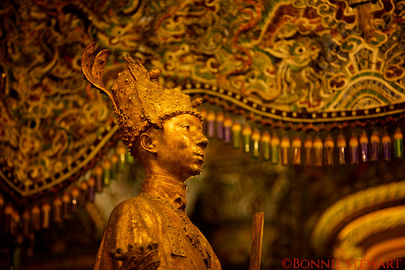 Bronze bust of the Emperor, Khai Dinh, located in the top level of the tomb.  The bronze bust was cast in Marseille, France in 1922.
