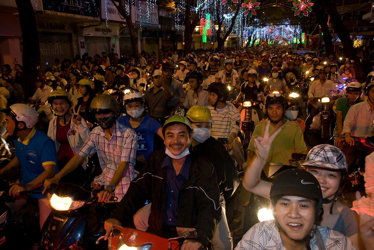 A roiling mass of humanity on New Year's Eve. Ho Chi Minh City (Saigon).