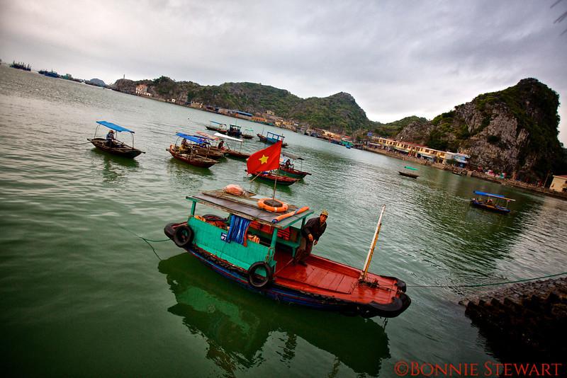 Fishermen in Cat Ba Bay, Gulf of Tonkin