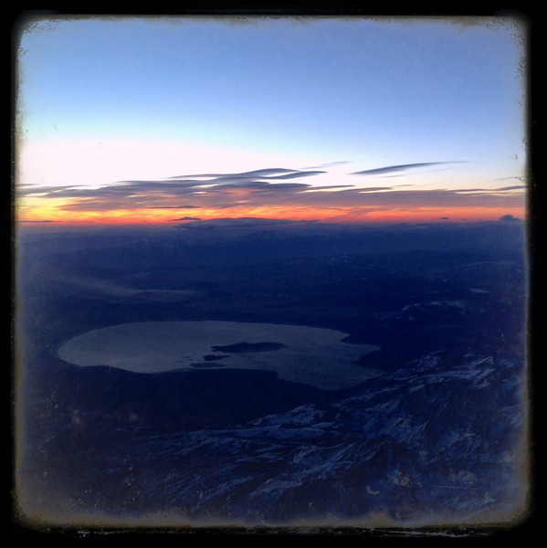 Sunrise behind Mono Lake and the snow capped Sierras