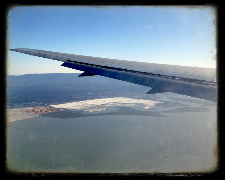 Evaporation ponds on descent to SFO